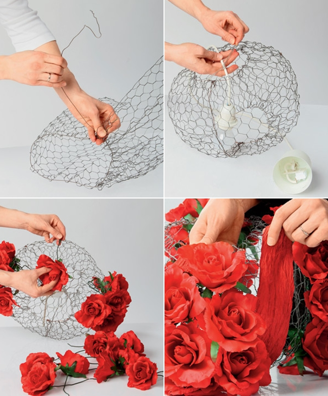Diy lampshade project decorated with romantic red silk roses diy lampshade project tutorial steps making wire frame decoration roses greentooth Gallery