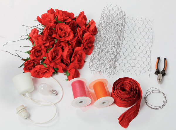 Diy lampshade project decorated with romantic red silk roses for How to make a lampshade from scratch