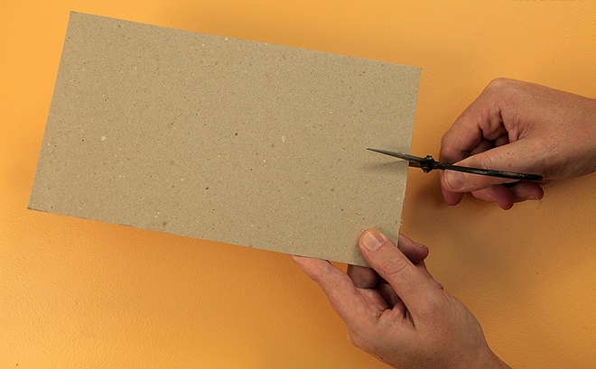 DIY Valentine's Day gift for him -cut-cardboard-scissors