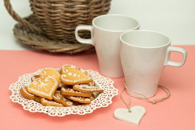 diy homemade baked cookies heart shaped form cream decoration