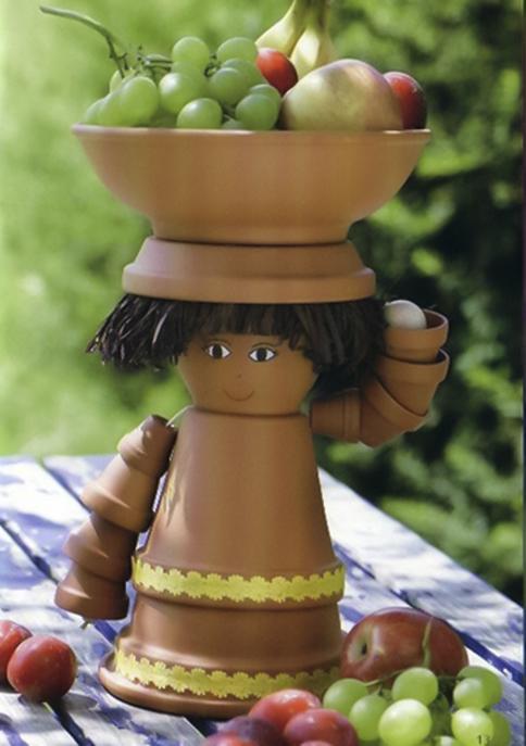 clay-flower-pot-crafts-garden-decor-fruit-bringing-girl