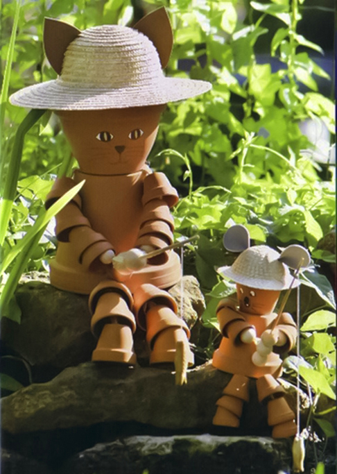 A Clay Pot Mouse And A Clay Pot Cat Fishing Together