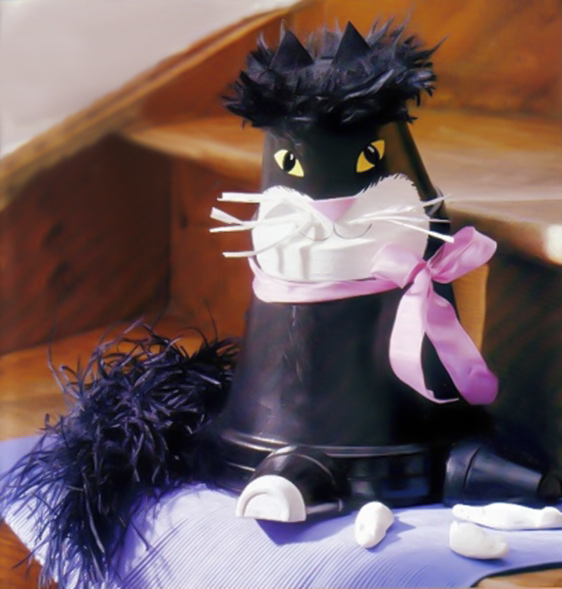 clay-flower-pot-crafts-painting-ideas-black-cat