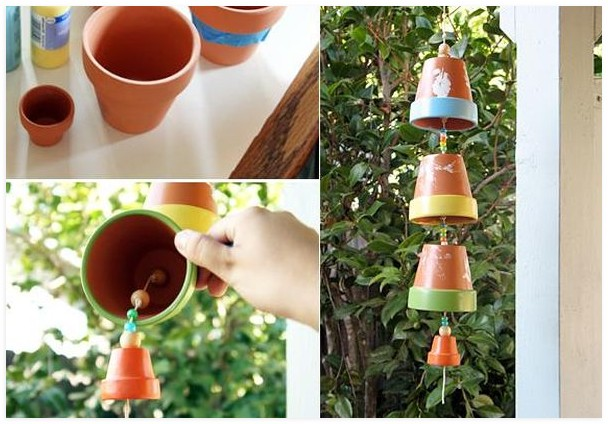 clay-flower-pot-crafts-painting-ideas-garden-decor-wind-chyme