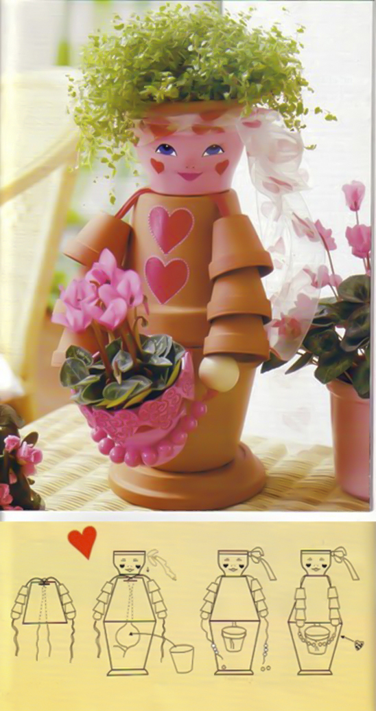 clay-flower-pot-crafts-painting-ideas-girl-flower-hair