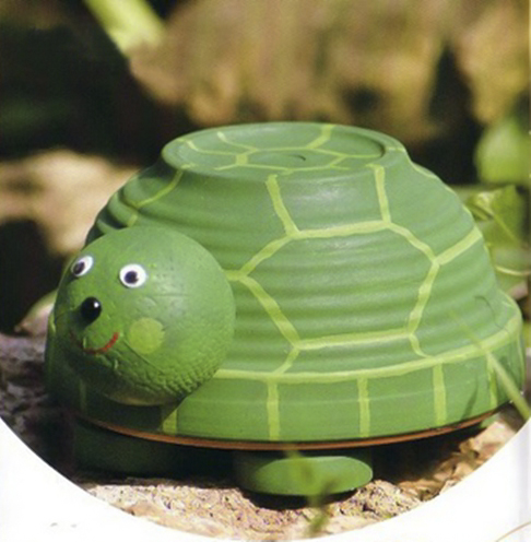 clay-flower-pot-crafts-painting-ideas-green-tortoise
