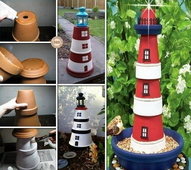 Clay flower pot crafts painting ideas lighthouse garden for Art and craft pot decoration