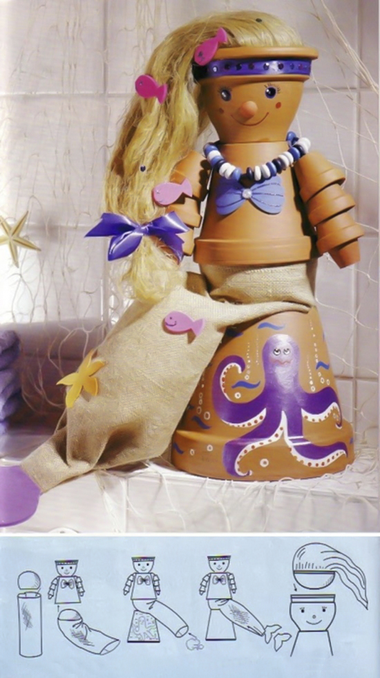 clay-flower-pot-crafts-painting-ideas-mermaid-women