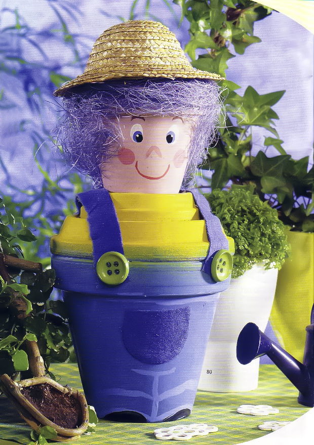 Clay flower pot crafts painting-ideas-people-farmer-man