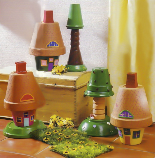 clay-flower-pot-crafts-painting-ideas-tiny-houses