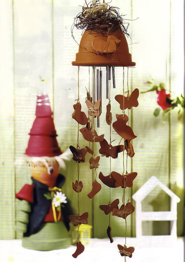 Wind Chime Made Of Clay Flower Pot With Dangling Ducks And