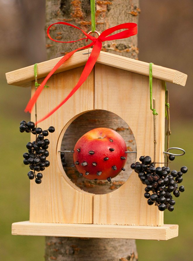 diy bird feeders hanging-wooden-house-fruit