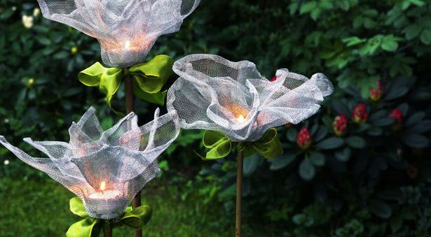 Diy Outdoor Candle Holders Stakes Fine Wire Mesh Flowers