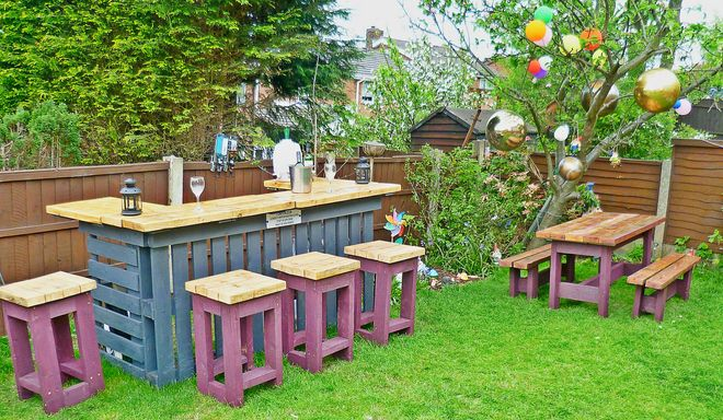 diy pallet furniture ideas garden bar stools - Garden Ideas With Pallets