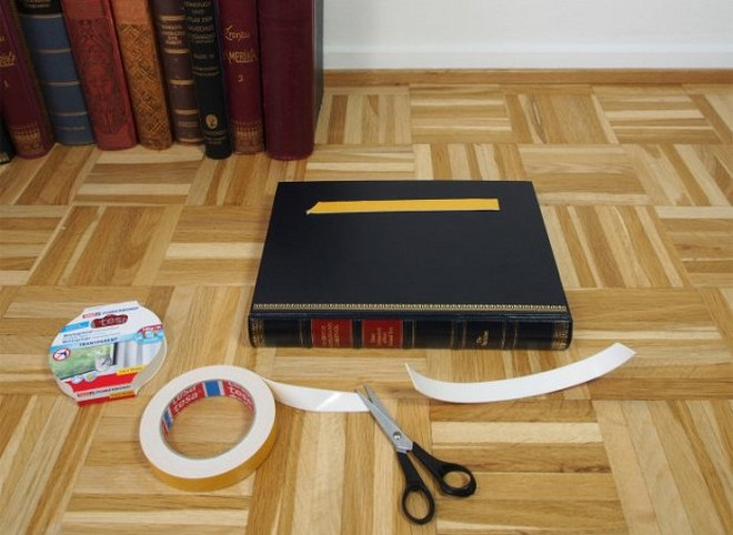 DIY side table books-project-cut-strip-adhesive-tape