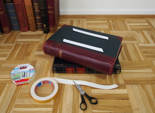 DIY side table books-project-double-faced-adhesive-tape
