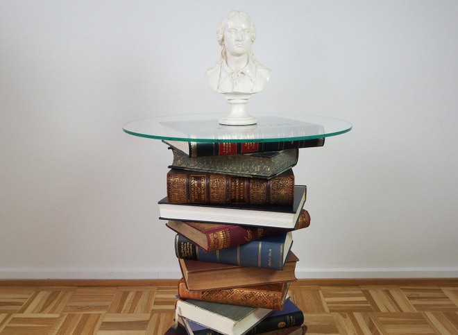 Small Side Table With Round Glass Tabletop And Books Base