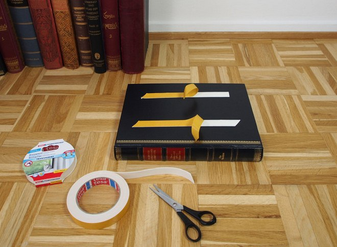 diy-side-table-old-books-double-faced-adhesive-tape