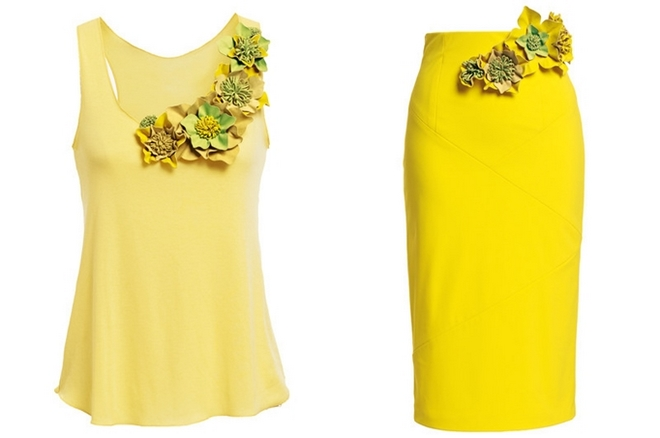 DIY summer ideas yellow-outfit-diy-leather-flowers-accessories