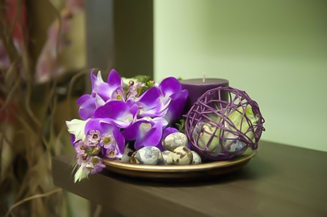 diy easter table decorations quail eggs purple orchid composition handmade project