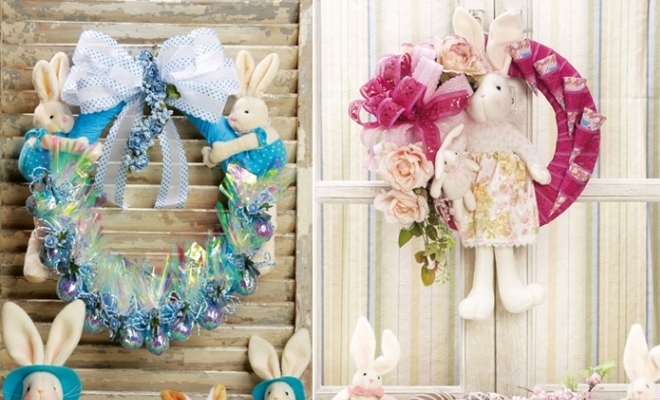 Easter wreath ideas with tutorials fun crafts with bunnies for Cheap diy christmas crafts