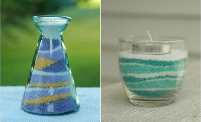 Diy Colored Salt To Decorate Glass Candle Holders