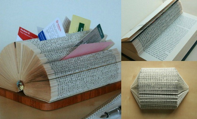 Diy business card display stand made of a folded book reheart Images