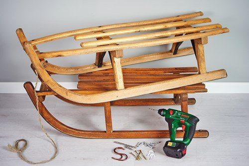 upcycled furniture diy old sturdy wooden sledges winter sport motif