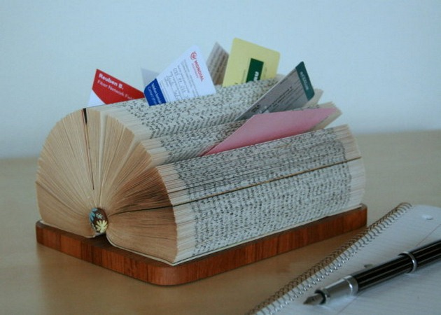 DIY Business Card Display Stand Made Of A Folded Book Interesting Business Card Display Stands