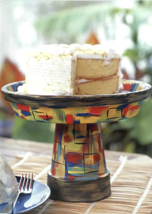 clay pot craft ideas diy-cake-stand-colorful-painted
