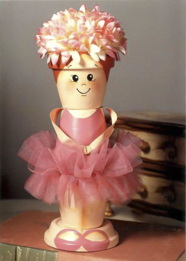 clay pot craft ideas diy-project-ballerina-doll