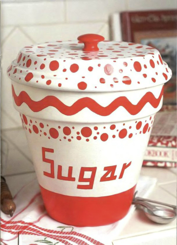 clay pot craft ideas sugar-storage-white-red