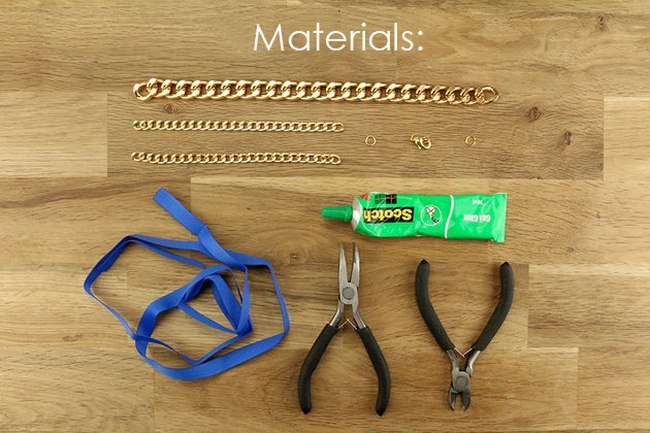 DIY chain ribbon necklace needed-materials-large-medium-gold-chain