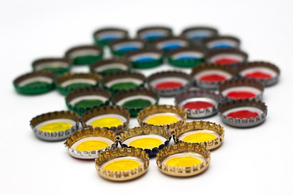 homemade games for kids painted metal bottle caps drying