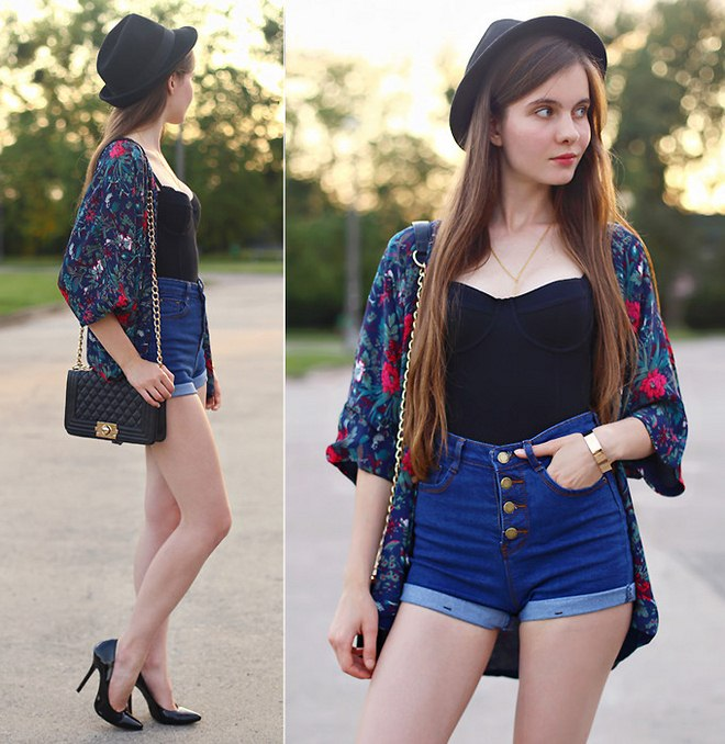 how-to-wear-kimono-jacket-floral-high-waist-jeans-shorts