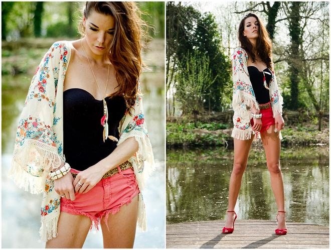 how-to-wear-kimono-jacket-floral-pattern-pink-shorts