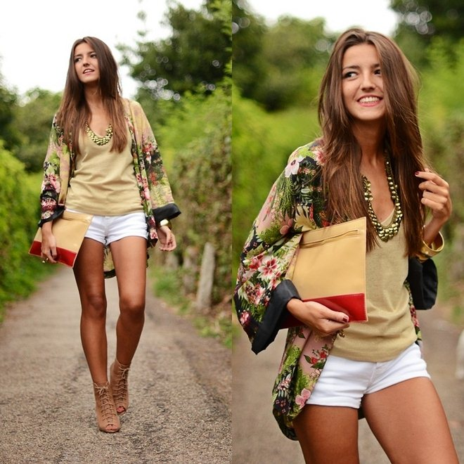 how-to-wear-kimono-jacket-white-shorts-nude-top