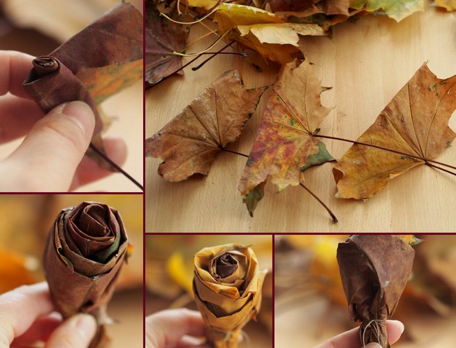 Fall Leaf Crafts How To Make Rose Bouquet From Maple Leaves