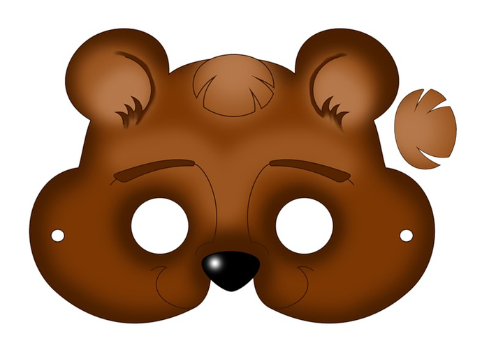 kids-face-masks-template-animals-brown-bear-craft