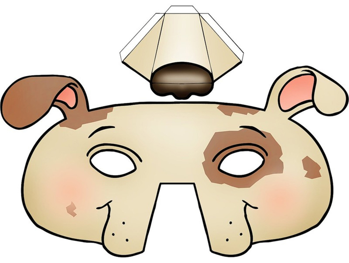 Kids Face Masks Template Animals Dog 3d Nose