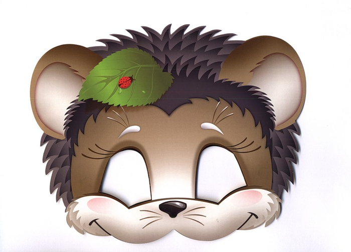 kids face masks templates animals-hedgehog-print