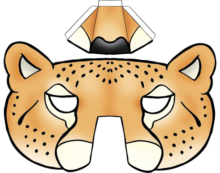 Kids face masks template animals leopard 3d nose