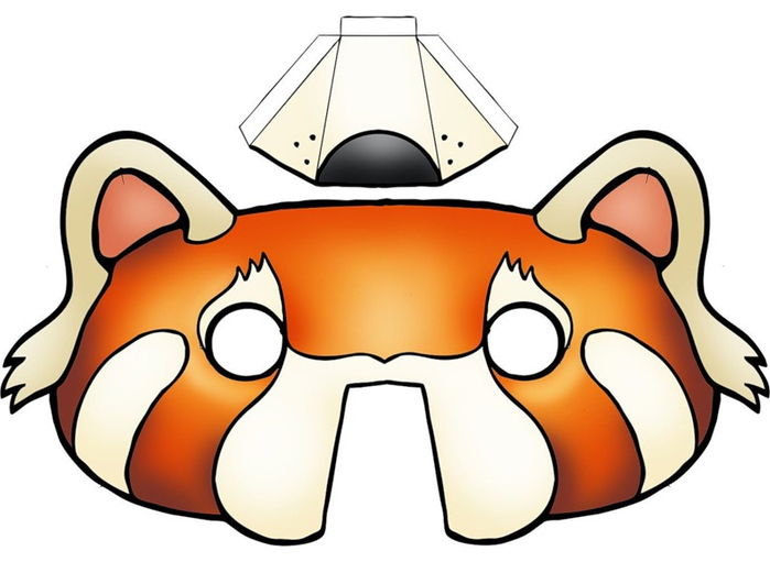 kids-face-masks-template-animals-orange-bear-3d-nose