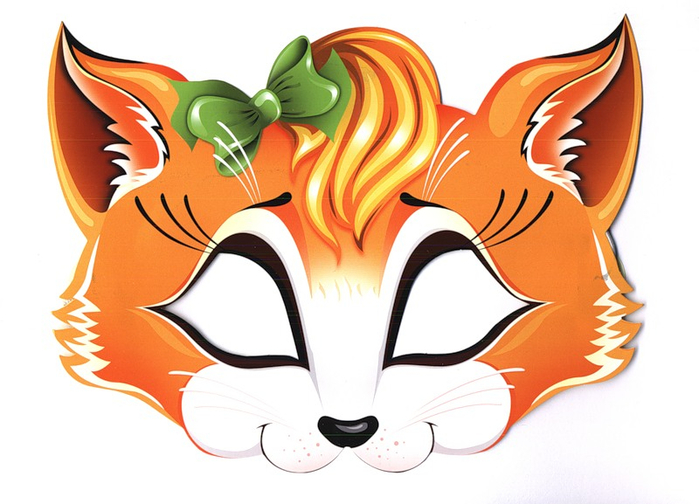 kids face masks templates -animals-orange-fox-girl
