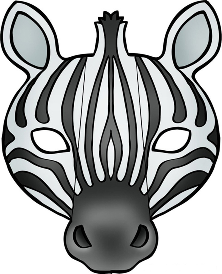 Kids face masks template animals zebra print