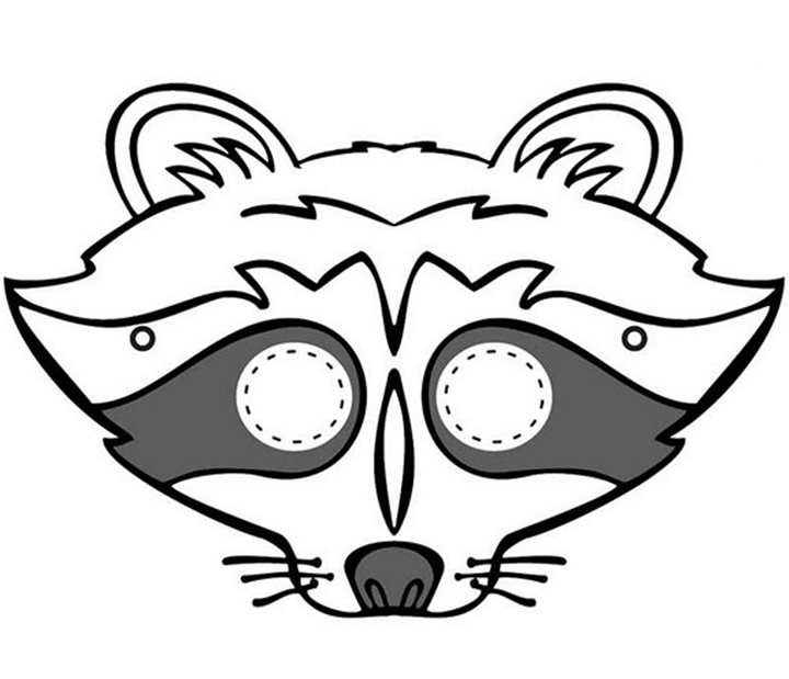 64 Free kids face masks templates for Halloween to print Raccoon Face Coloring Pages