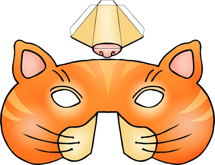 Kids Mask Template Animals Orange Cat 3d Nose  Face Mask Templates Printable