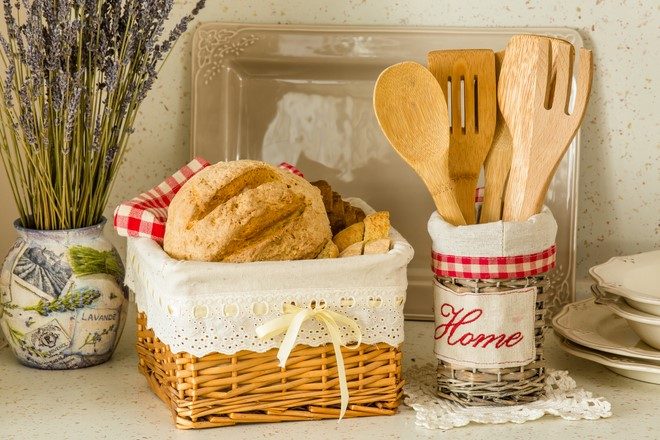 table decorating ideas bread basket wood kitchen utensils french provence