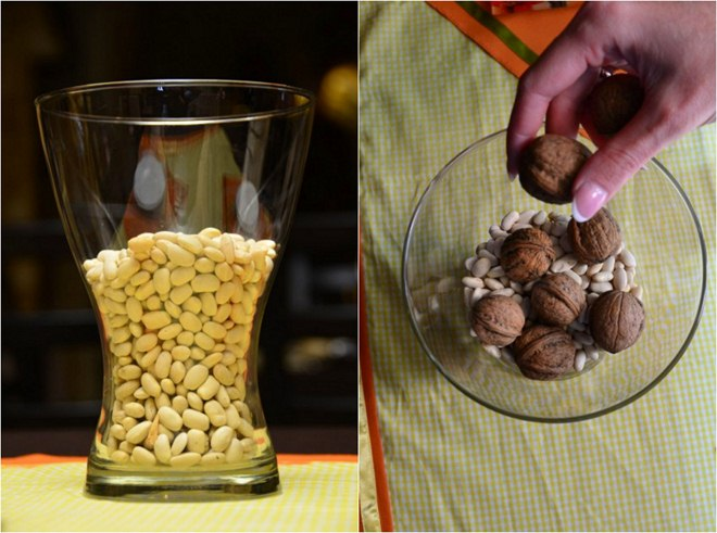 thanksgiving-table-centerpiece-diy-glass-vase-white-beans-vase-filler-walnuts