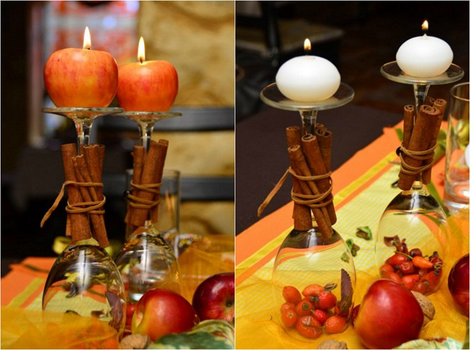 Thanksgiving table decorations and diy centerpiece ideas for Centerpieces made with wine glasses